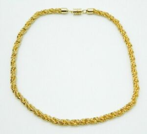 Pcraft-Gold-Tone-Heavy-Chain-Link-Rope-Chain-Necklace-Vintage-1960s