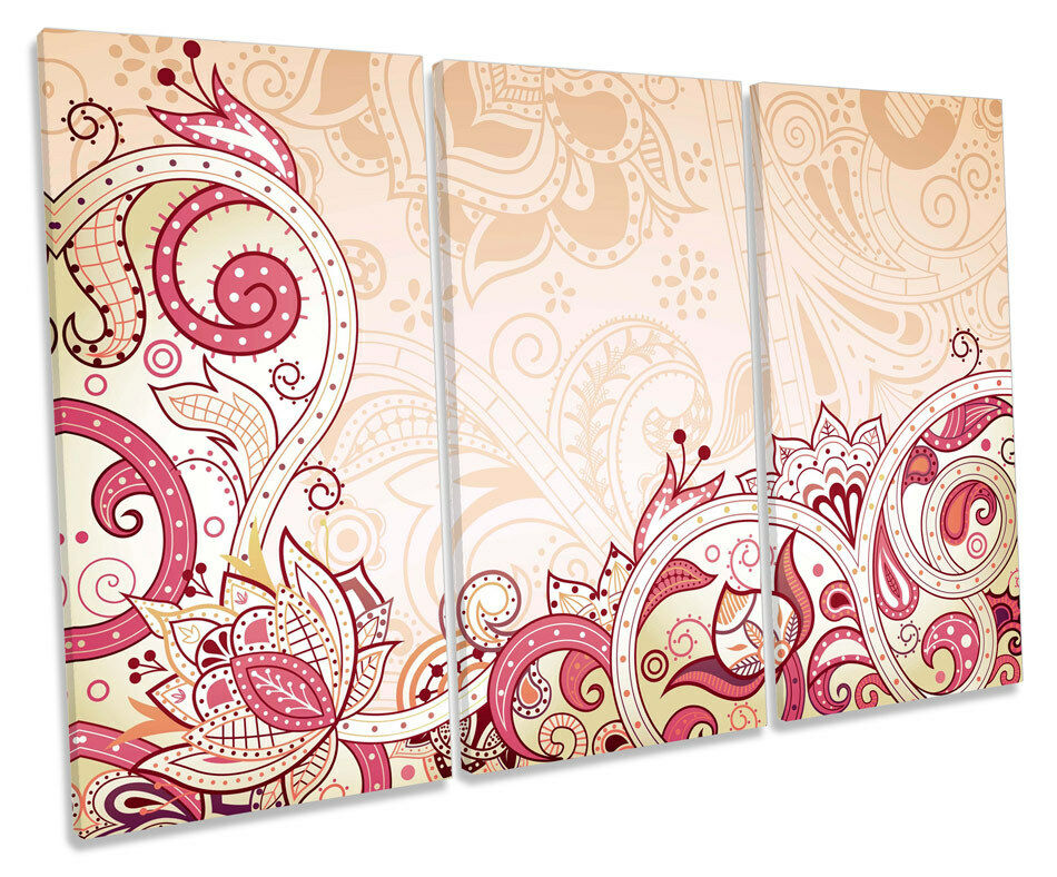 Floral Abstract Vines CANVAS Wand Kunst TREBLE Box Frame Drucken