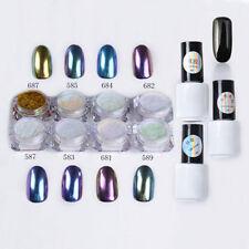 Black 12pcs/set Nail Art Chameleon Mirror Glitter Powder Chrome Pigment UV Gel