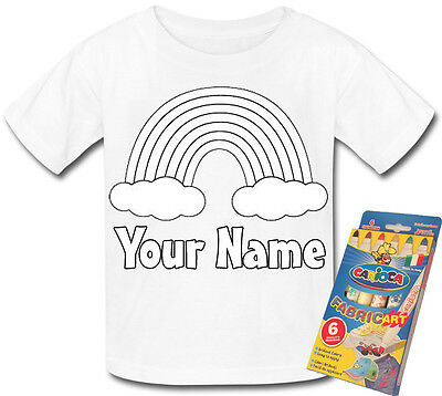 RAINBOW PERSONALISED KID/'S COLOUR ME IN T-SHIRT *FUN CRAFT PARTY GIFT /& NAMED*