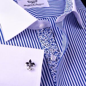 Mens-Blue-Floral-Striped-Dress-Shirt-Formal-Business-White-Contrast-Cuff-Collar