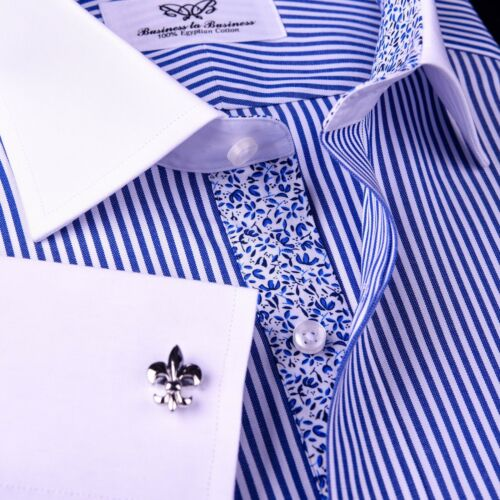 Mens Blue Floral Striped Dress Shirt Formal Business White Contrast Cuff Collar