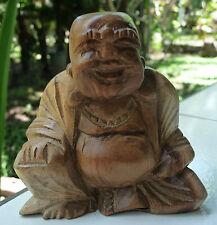 Statue Bouddha Chinois rieur de la fortune prospérité richesse bois d'hibiscus