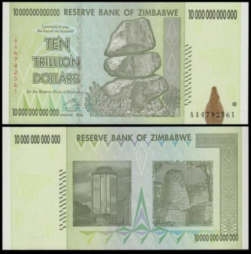 TRILLION Zimbabwe Dollars FAST Shipping ZWD 10 Good Condition AA 2008 TEN