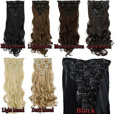 UK 100% One Piece Full Head Clip In Hair Extensions & Ponytail Wrap Round Tie Up