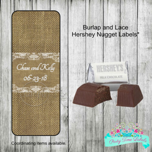 60 Burlap and Lace Rustic Wedding Shower Favors Hershey Nugget Labels Stickers