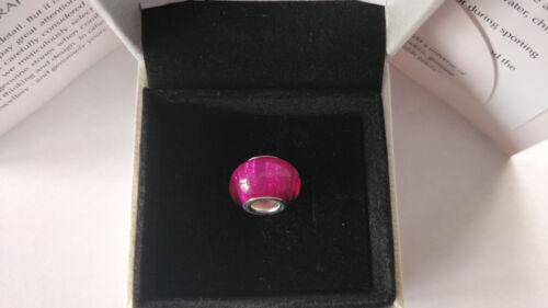 Auténtica S925 Plata Brillo Rosa Cristal de Murano Murano se adapta pulsera con dijes de abalorios