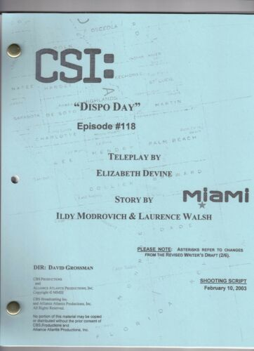 "CSI: Miami genuine show script...""Dispo Day"""