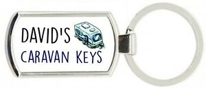 Rectangle-Man-039-s-Personalised-Caravan-Metal-Keyring-Metal-Supplied-With-Gift-Box