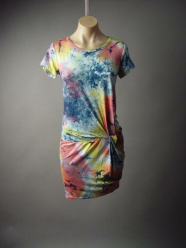 Tie-Dye Twisted Front Drape Surfer 70s Beach Boho Tee T-Shirt 193 mv Dress S M L