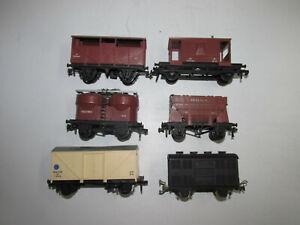 Konvolut-6-alte-Hornby-Spur-00-Eisenbahnwagen-Gueterwagen