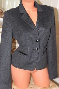 NEW-LOOK-Soft-grey-check-ladies-fitted-jacket-size-12