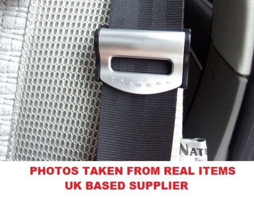 SILVER VAUXHALL SEAT ADJUSTABLE SAFETY BELT STOPPER CLIP CAR TRAVEL 2PCS