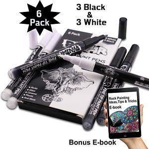 3 Black and 3 White Acrylic Fine Tip Paint Pens for Rock Painting Art PINTAR