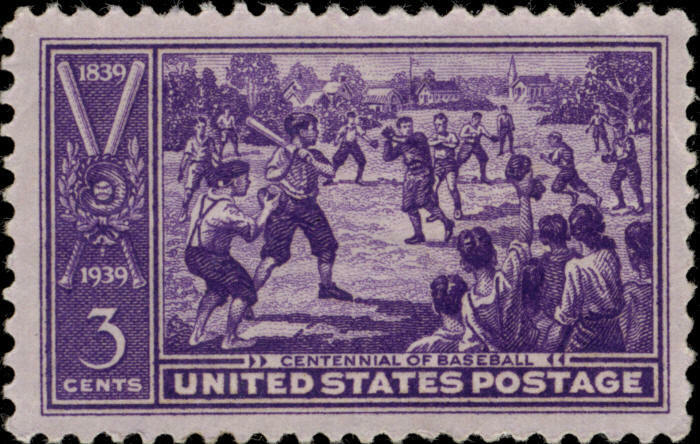 1939 3c Centennial of Baseball, 100th Anniversary Scott