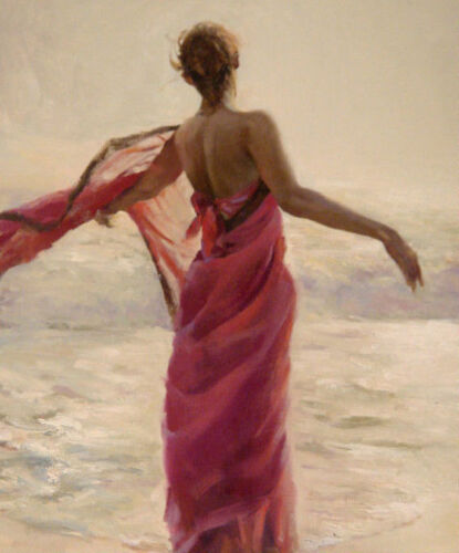 ZOPT578 pink red dress lady portrait seaside hand paint oil painting art canvas