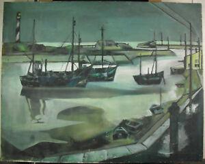 Georges-HANQUET-il-port-de-Concarneau-Bretagna-Nave-paint-c1950-boat-92cm