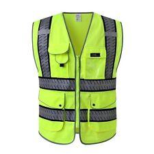 J.K 9 Pockets Class 2 High Visibility Zipper Front Safety Vest With Reflective