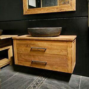 Details zu Badmöbel Waschbeckenunterschrank für Aufsatzwaschbecken Teak  Altholz hängend