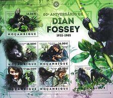 Mozambique 2012 Stamps, MOZ1206C 80th Ann de Dian Fossey Monkey 1932-1985
