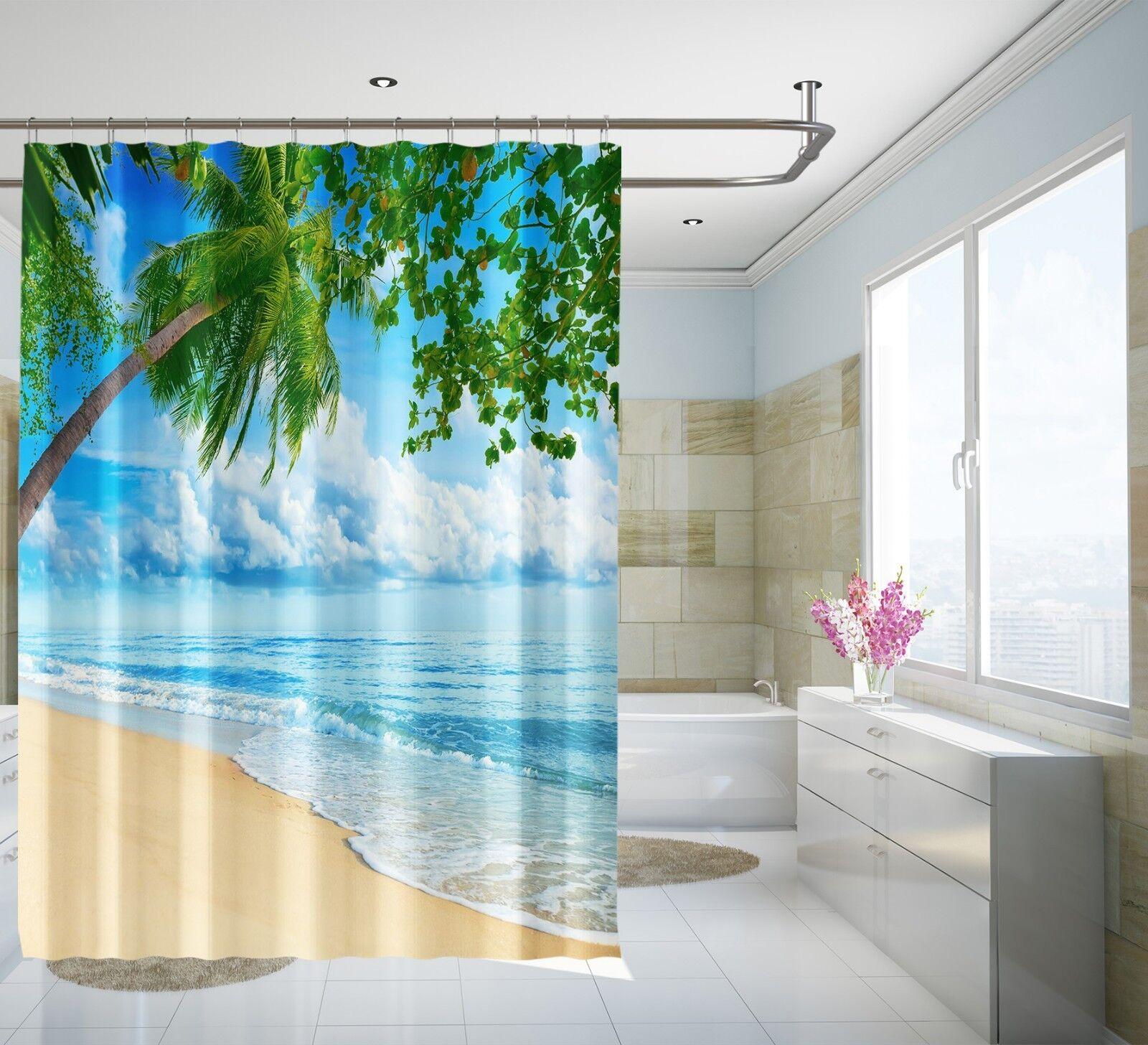 3D Beach Scape 5 Shower Curtain Waterproof Fiber Bathroom Home Home Home Windows Toilet 25b601