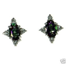 David Sigal Solid 925 Sterling Silver Oval Rainbow Mystic Topaz Stud Earrings '