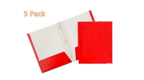 Two-Pocket Folders with Prong Fasteners 5 Each Red.