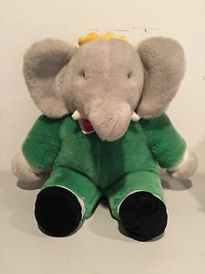 Gund 1988 Vintage 14 Plush Babar Elephant Green Suit Stuffed Animal