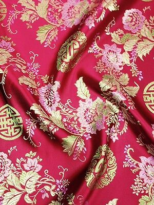 Brocade Chinese floral blossom oriental asian  Red Gold Pink Fabric