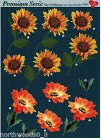 Precut Sunflower Gerber Daisy Floral Tole Card Dimensional Ornament Collage
