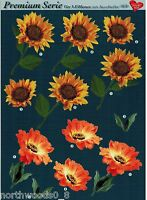 Precut Sunflower Gerber Daisy Floral Tole Card Dimensional Ornament Collage