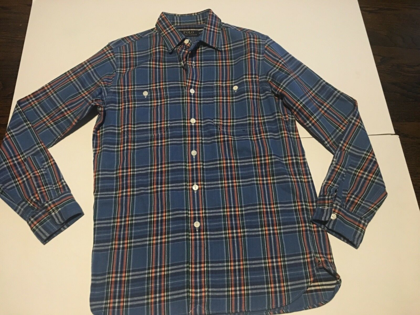Polo Ralph Lauren Mens bluee plaid  Soft Shirt  Small hilly billy retro western s
