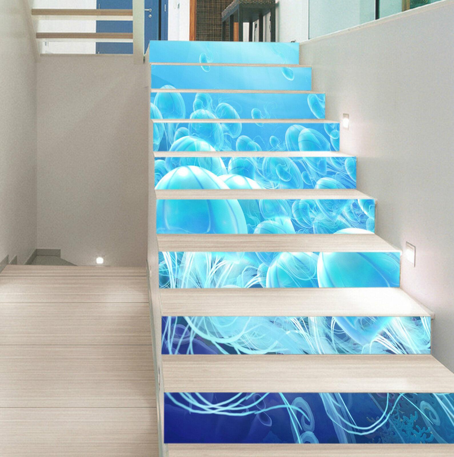 3D Ozean Meduse 264 Stair Risers Dekoration Fototapete Vinyl Aufkleber Tapete DE