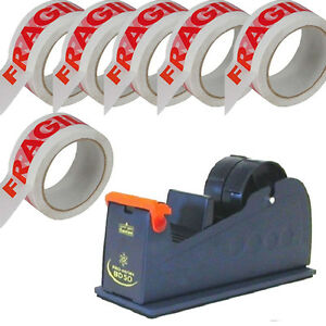 1X-50mm-Heavyweight-Packing-Tape-Desktop-Metal-Dispenser-amp-6X-FRAGILE-TAPE-ROLLS