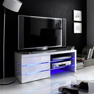 Image Is Loading Sonia White High Gloss Tv Stand With Led