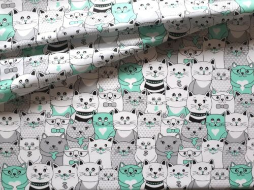 BEAUTIFUL,BEST QUALITY,cats in the cinema mint green FABRIC100/%COTTON 160cm wide