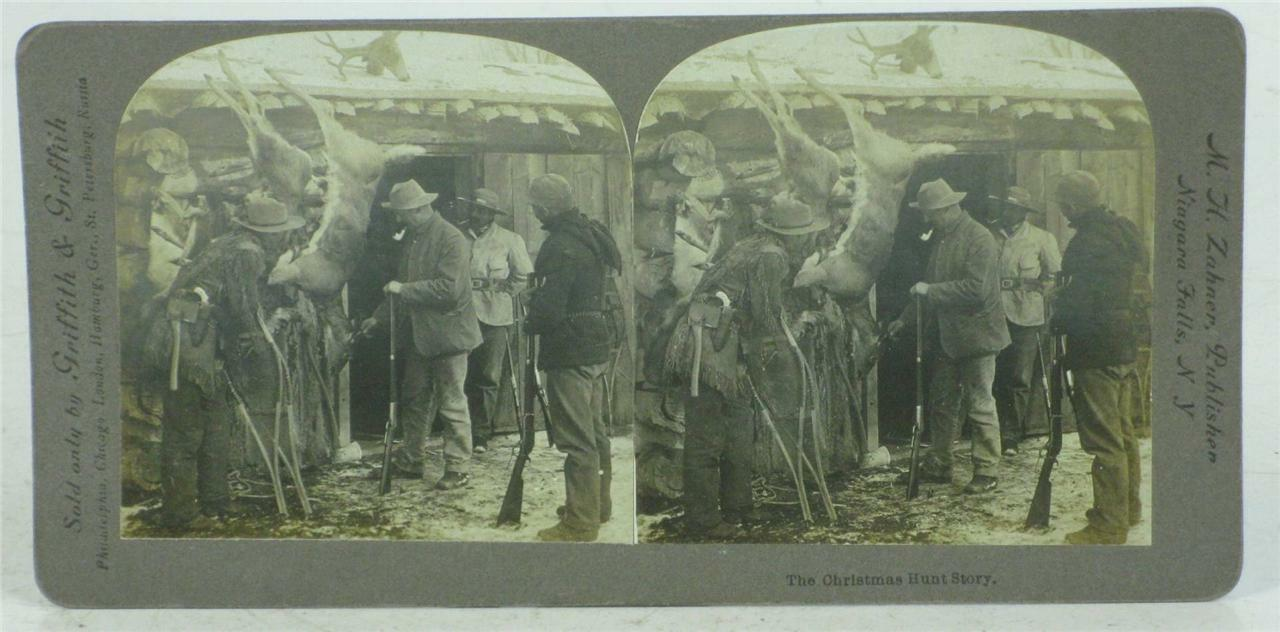 Christmas Hunt H. Story, Niagara Falls NY, Photo Stereoviews M. H. Hunt Zahner Publisher 9467b2