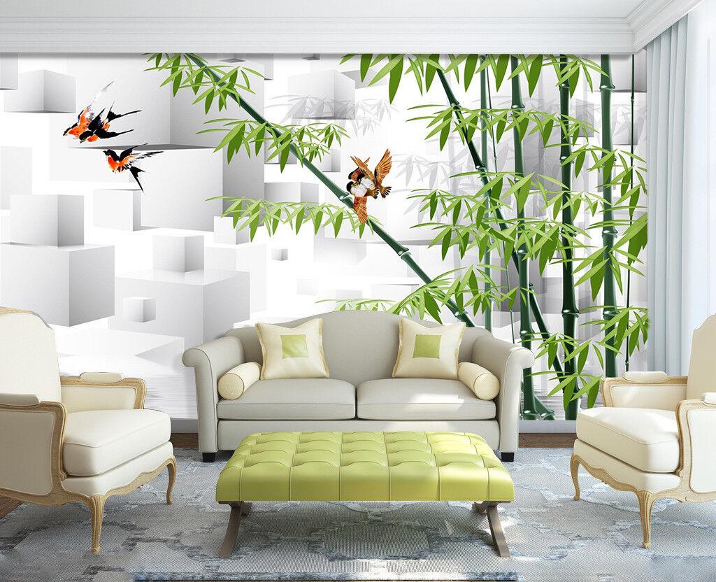 3D Raum Bambus Vogel 7983 Tapete Wandgemälde Tapeten Bild Familie DE Jenny