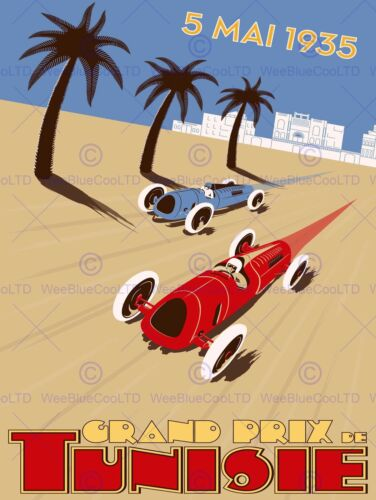 SPORT ADVERT MOTOR RACING GRAND PRIX 1935 TUNISIA POSTER ART PRINT BB12675B