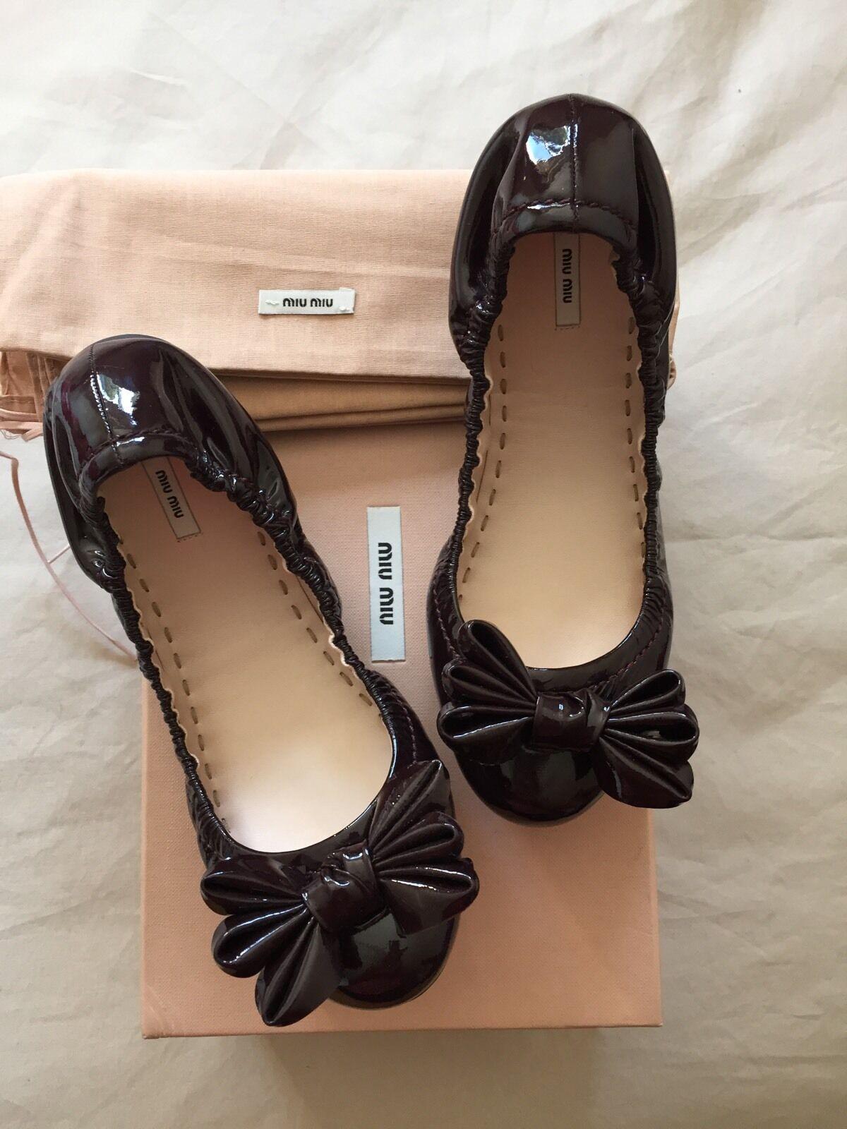 Miu Miu Bordeaux Patent Leather Ballet Flats Red Bow shoes BNIB UK 4 37