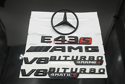 Gloss Black Red E63s V8 BITURBO 4MATIC Badge Emblems for Mercedes Benz W213 AMG