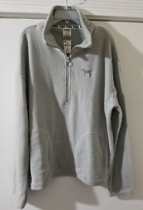 6378b3a4c2b43 Details about Victoria's Secret PINK Stadium Half Zip Sherpa Fleece  Pullover Gray Medium NWT