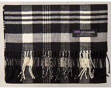 100% Cashmere Scarf Black White Flannel Check Plaid Scotland Warm Wool R33