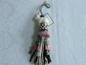 Mackenzie-Childs-Upscale-COURTLY-CHECK-CERAMIC-Bunny-RABBIT-TASSEL-NEW-98-m18-3