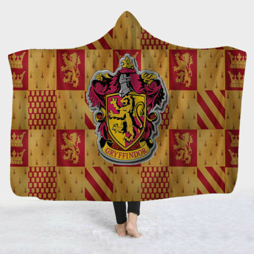 Harry Potter Gryffindor Ravenclaw Wearable Throw Wrap Hooded Blanket Cloak Soft