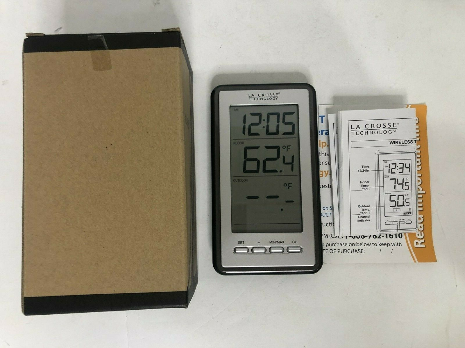 La Crosse Technology Digital Wireless Thermometer + Time, WS-916OU-IT NO SENSER