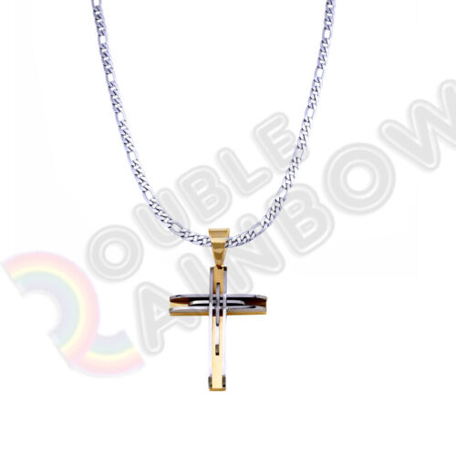 """Men Stainless steel Cross Necklace Pendant 18-36/"""" Figaro 3mm-12mm Chain 24P02"""