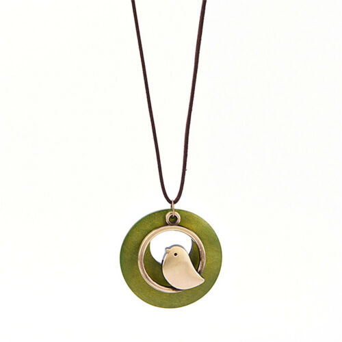 Fashion Women Bird Wooden Bead Pendant Vintage Long Necklace Gi JX