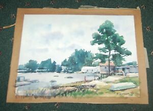 Original-Watercolor-Florida-Backwater-with-houses-marked-F-Strothmann-039-82