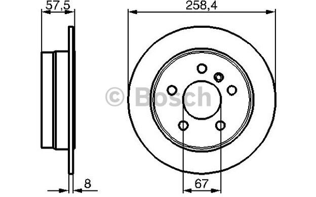 BOSCH Juego de 2 discos freno Trasero 258mm MERCEDES-BENZ CLASE A 0 986 479 235